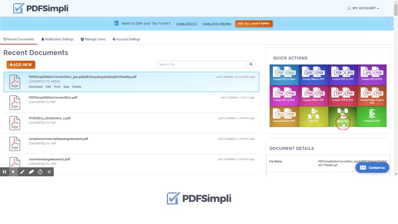 Get direct access to merge pdf tools anywhere